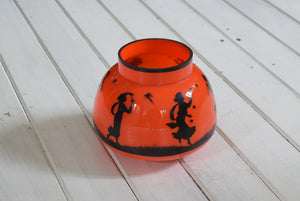 Mid Century Orange Glass Bowl