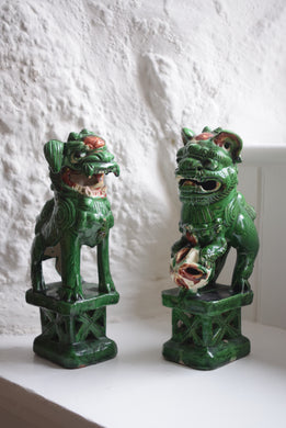 Chinese Sancai Green Glaze Foo Dogs