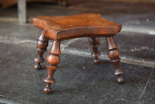 Load image into Gallery viewer, Burr Walnut Turned Leg Miniature Stool