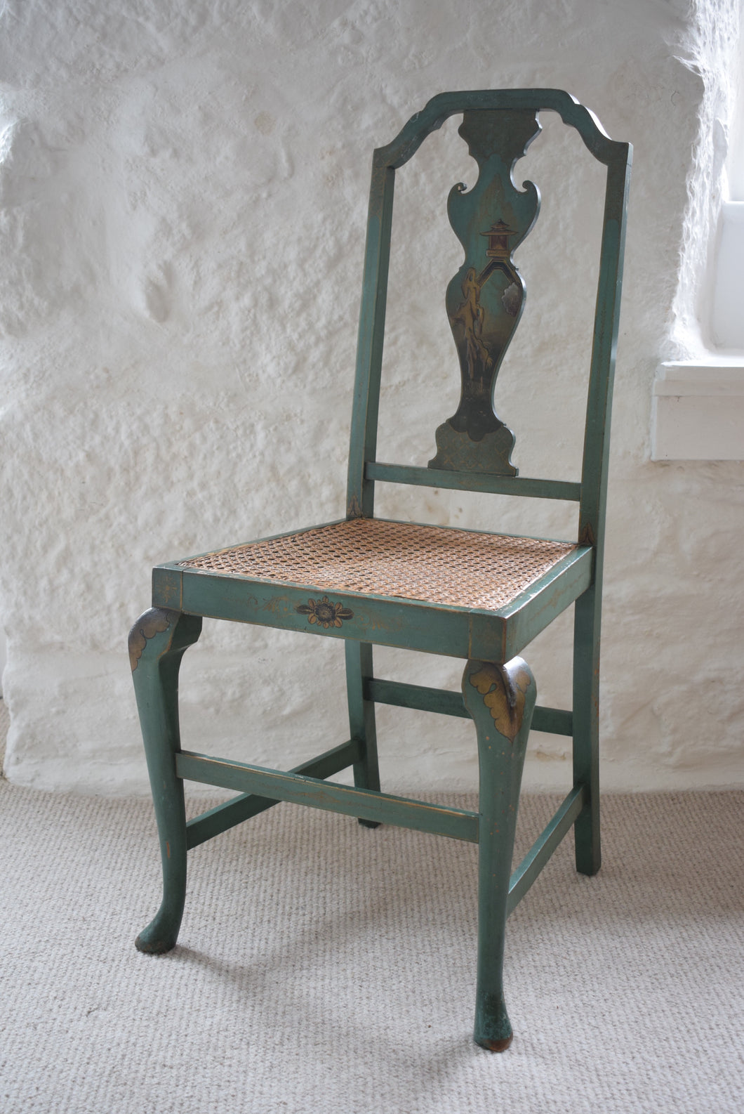 Chair Green Japanned with Rattan Seat