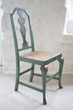 Load image into Gallery viewer, Chair Green Japanned with Rattan Seat