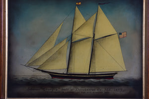 Reverse Painted Glass Schooner