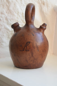 Antique Leather Covered Stoneware Flagon with Monogram