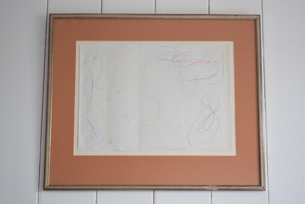 Crayon Line Drawing on Paper by Dora Holzhandler