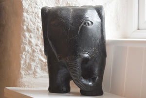 African Mask Carved Wood Elephant