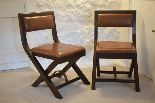 Folding Leather Campaign Chairs