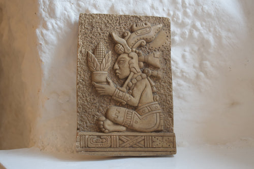 South American carved stone relief plaque