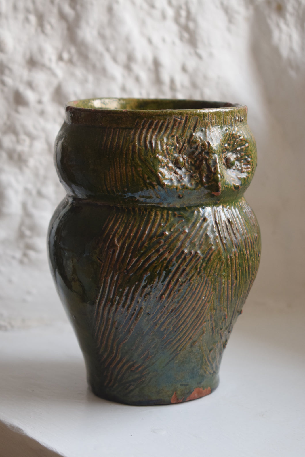 Early Farnham Pottery Green Glaze Owl Jug