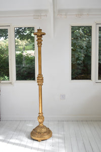 Tall Antique Italianate Gold painted Torchere ornately carved