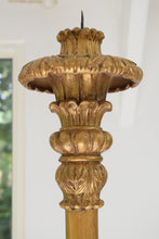 Load image into Gallery viewer, Tall Antique Italianate Gold painted Torchere ornately carved