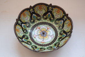 Chinese cloisonne enamel candle dishes