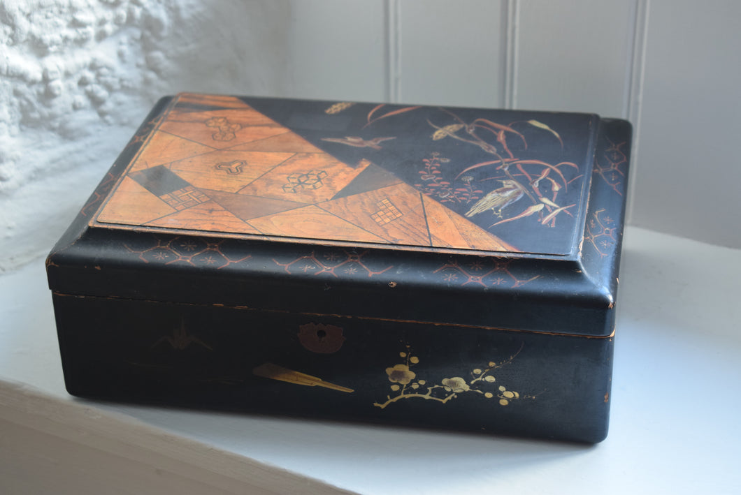 Japanese Black Lacquer Work Box
