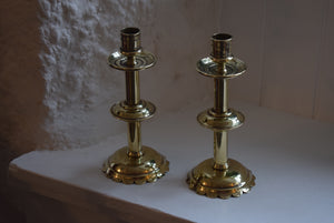 brass ecclesiastical style candlesticks