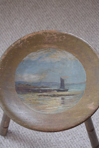 Hand Painted Wooden Stool St Michael's Mount