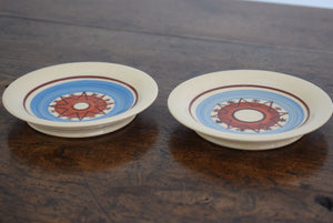 pair of blue pottery dishes