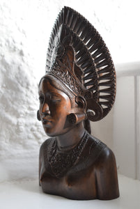 Carved Wooden Bust Woman