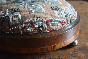 Beadwork Foot Stool with Marquetry Inlay