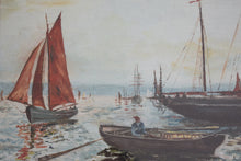 Load image into Gallery viewer, oil painting fishing boats