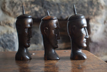 Load image into Gallery viewer, antique hand carved hardwood lidded heads