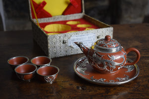 Yixing Clay Silver Metal Over-lay Cased Tea Set