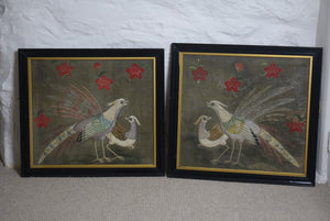 Silkwork Embroidery Birds Framed