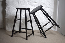 Load image into Gallery viewer,  Industrial Victorian Ebonised Oak Tall Stools