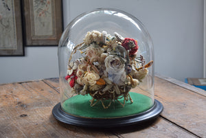 Victorian Woolwork Flower Arrangement Glass Dome