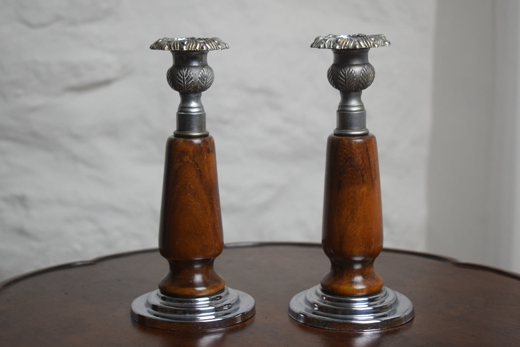 Foliate Decorated Candleholders c1920s