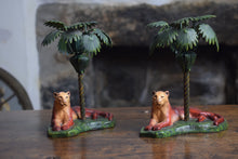 Load image into Gallery viewer, Cast Iron Lioness and Palm Tree Candlesticks