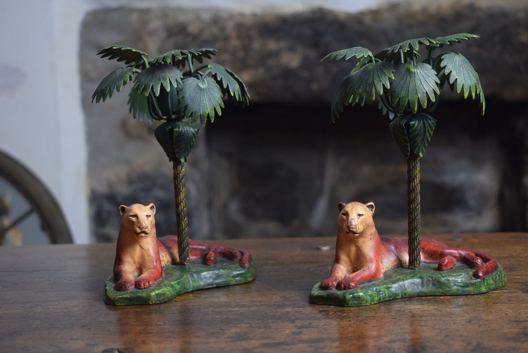 Cast Iron Lioness and Palm Tree Candlesticks