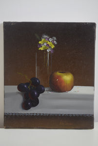 Oil On Canvas Apple Flowers & Grapes