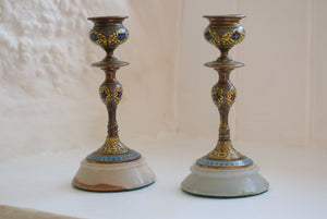 French Champleve Enamel and Brass Candlesticks