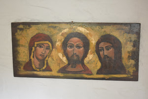 Oil on Panel Byzantine Style Russian Orthodox Deesis