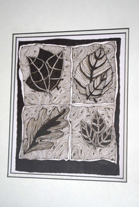 Pen and Ink Drawing Leaves