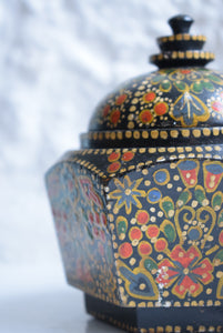 Antique Hand Painted Kashmiri Lidded Pot