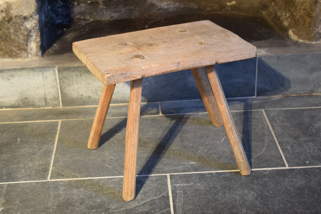 Antique Elm Primitive Country Stool