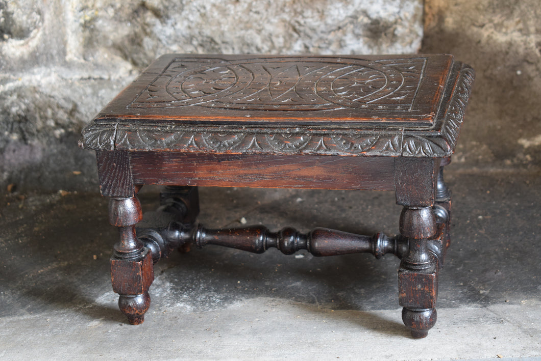 Small Antique Carved Oak Footstool