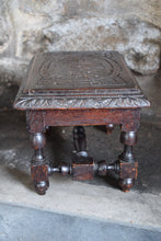 Load image into Gallery viewer, Small Antique Carved Oak Footstool