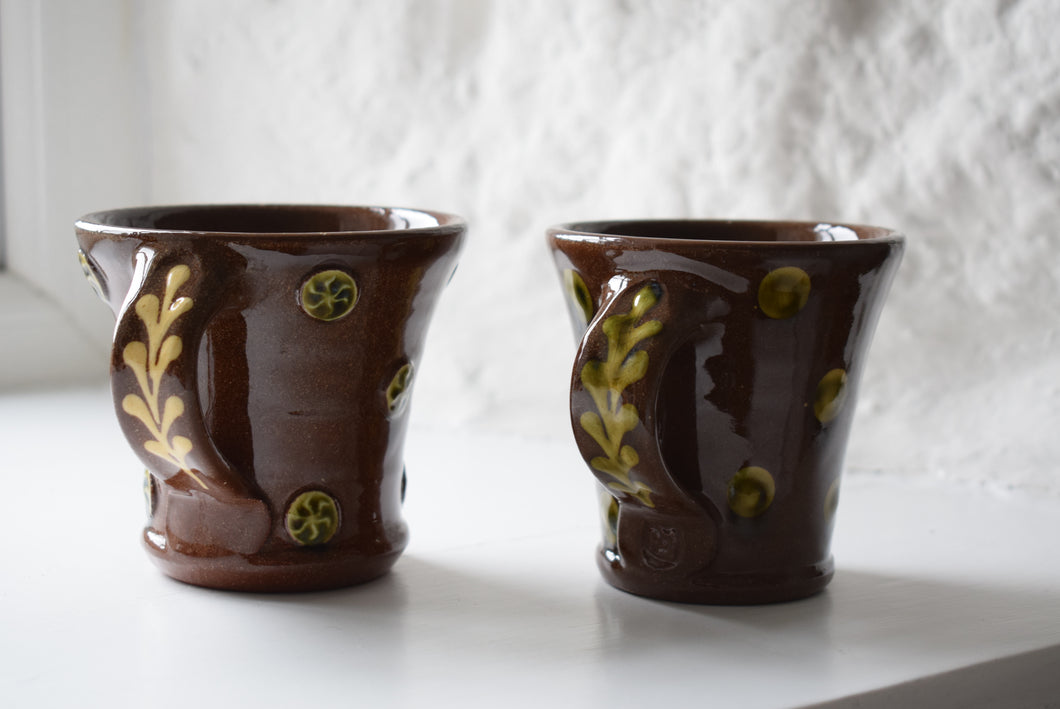 Glazed Terracotta Studio Pottery Coffee Mugs
