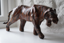Load image into Gallery viewer, Antique Leather Sculpture Burmese Tiger