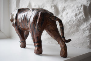 Antique Leather Sculpture Burmese Tiger