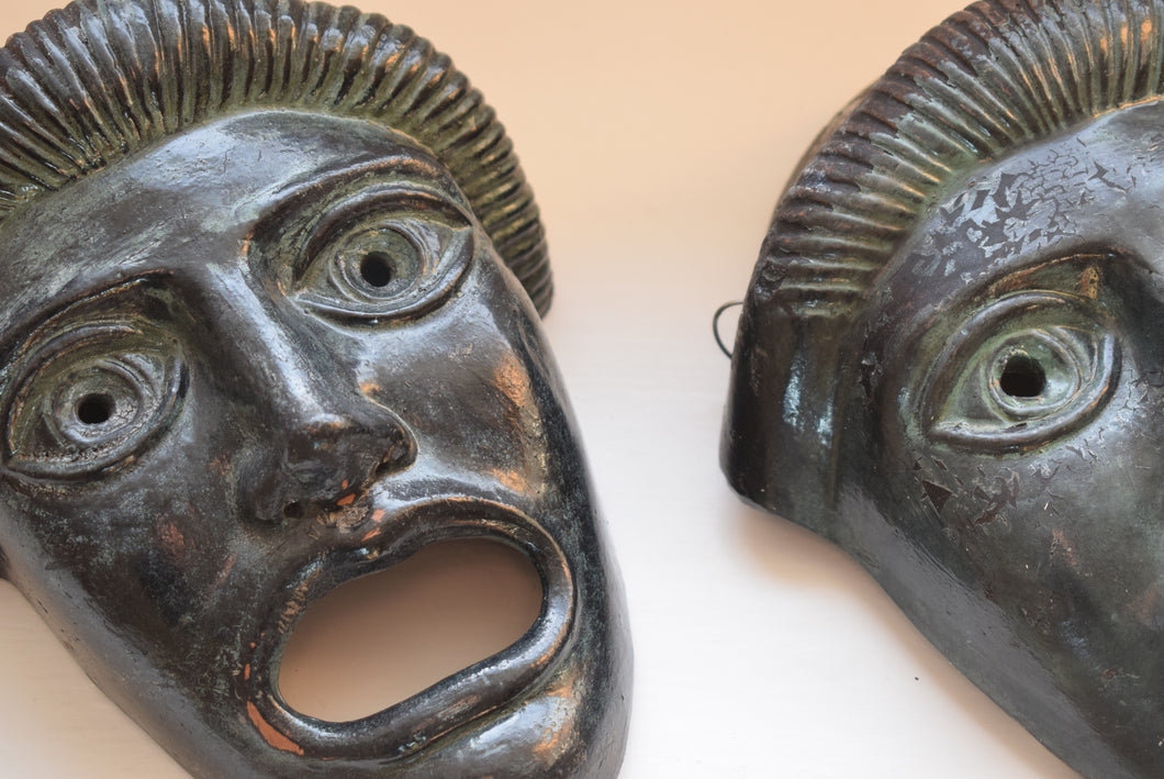 Vintage Greek Painted Terracotta Tragedy Masks