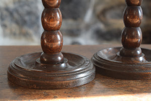 Oak Barley Twist Candlesticks