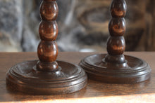 Load image into Gallery viewer, Oak Barley Twist Candlesticks