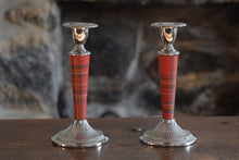 Load image into Gallery viewer, Tartan and Chrome Candlesticks