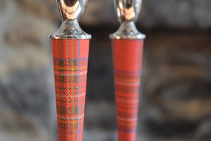 Tartan and Chrome Candlesticks
