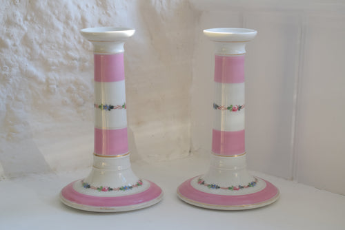 Pink and White Porcelain Candlesticks