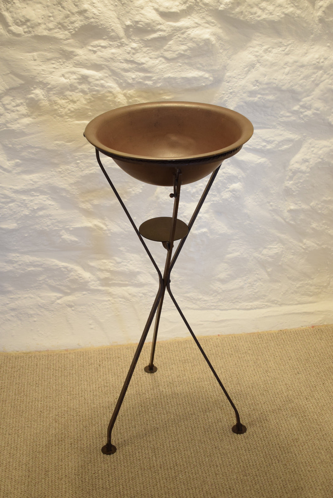 Antique Folding Metal Campaign Wash Stand and Bowl
