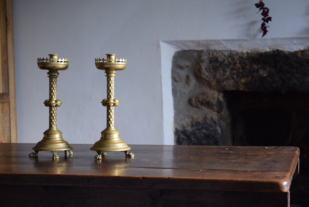 Antique Brass Ecclesiastical Church Altar Candlesticks
