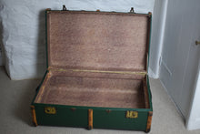 Load image into Gallery viewer, Green Vintage Steamer trunk